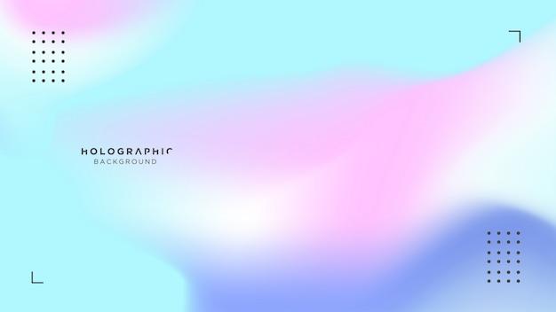 Holograficzne niebieskie i różowe tło Premium Wektorów