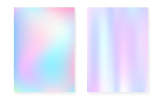 Holograficzne Tło Gradientowe Z Pokrywą Hologramu. Premium Wektorów