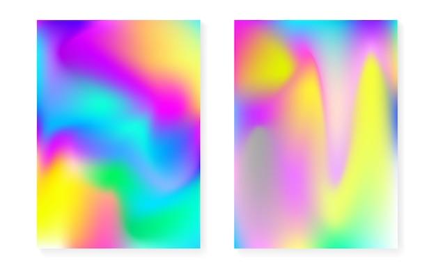 Holograficzne Tło Gradientowe Z Pokrywą Z Hologramem. Premium Wektorów