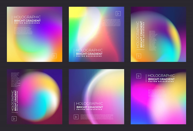 Holograficzny jasny gradient cieczy Premium Wektorów
