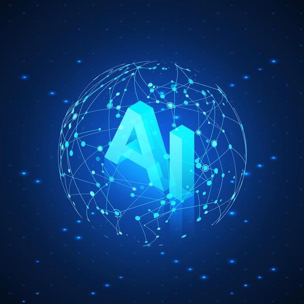 Hologram Ai W Global Network. Izometryczny Sztucznej Inteligencji. Nagłówek Ai. Futurystyczne Tło Technologii. Premium Wektorów