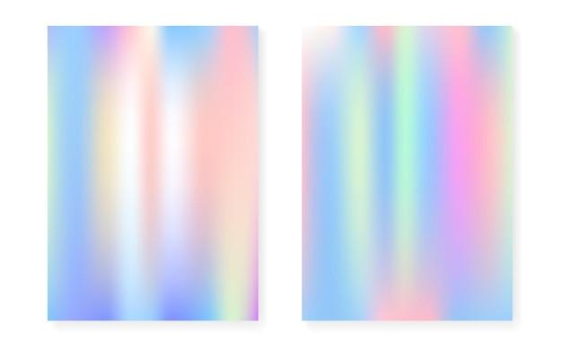 Hologram Gradientowe Tło Z Holograficzną Okładką. Premium Wektorów