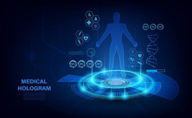 Hologram Medyczny Z Ciałem, Badanie W Stylu Hud. Nowoczesna Futurystyczna Koncepcja Opieki Zdrowotnej Z Hologramem Wskaźników Ludzkiego Ciała I Zdrowia. Prześwietlenie. Premium Wektorów