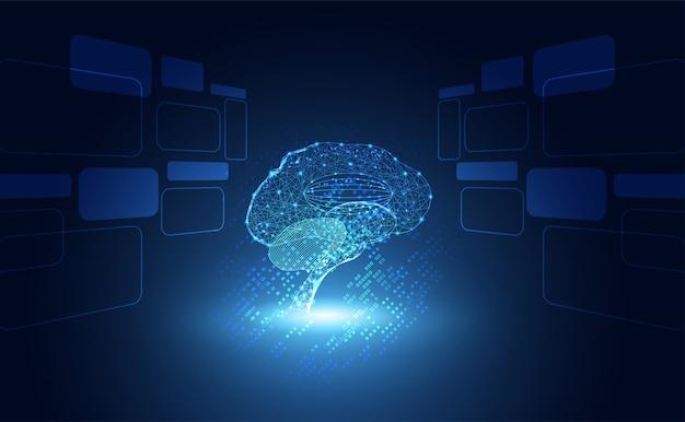 Hologram mózgu elementów cyfrowych Premium Wektorów