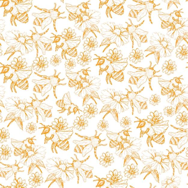 Honey bee seamless pattern, szkic ilustracja z pszczół uli w stylu vintage Darmowych Wektorów