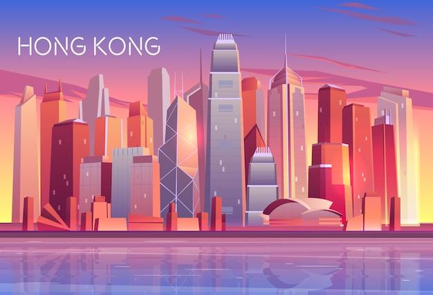 Hong kong city evening, rano skyline kreskówki z zachodu słońca odbijającej światło w wieżowcach Darmowych Wektorów