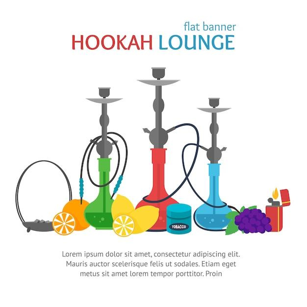 Hookah Lounge Banner Tradycyjna Kultura Palenia. Premium Wektorów