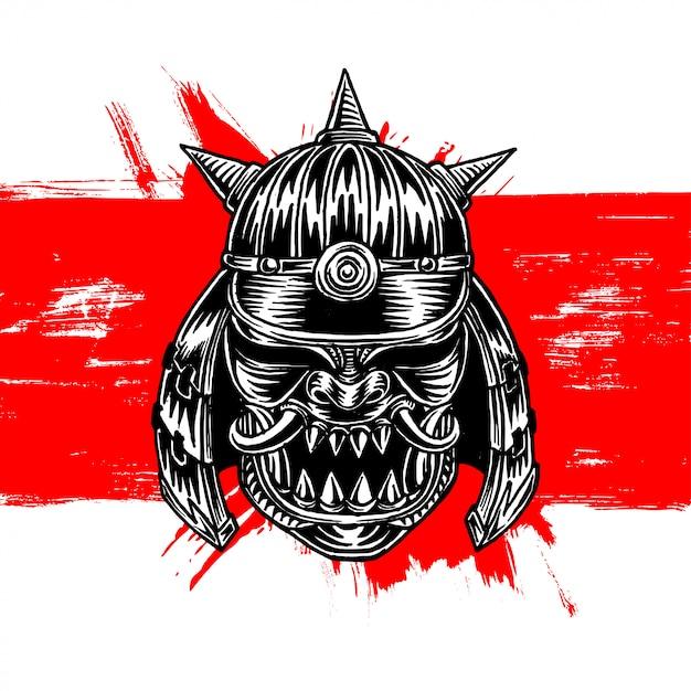 Horned samurai warrior war helm Premium Wektorów