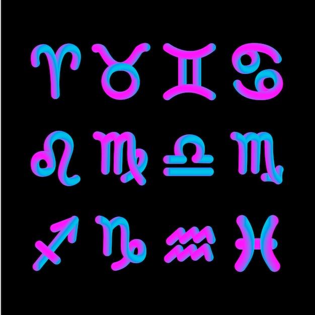 Horoskop znak zodiaku kształt 3d grafika astrologii gradientu Premium Wektorów