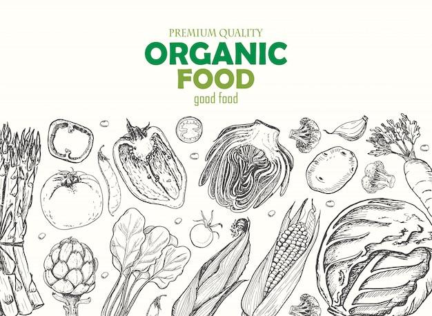 Horyzontalny tło z warzywami Premium Wektorów