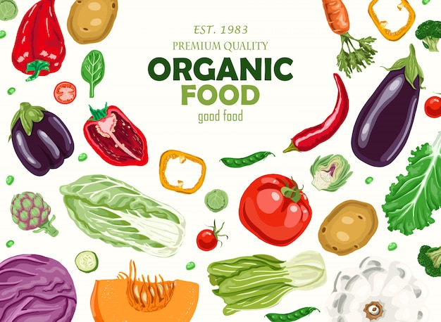 Horyzontalny tło z warzywami. Premium Wektorów