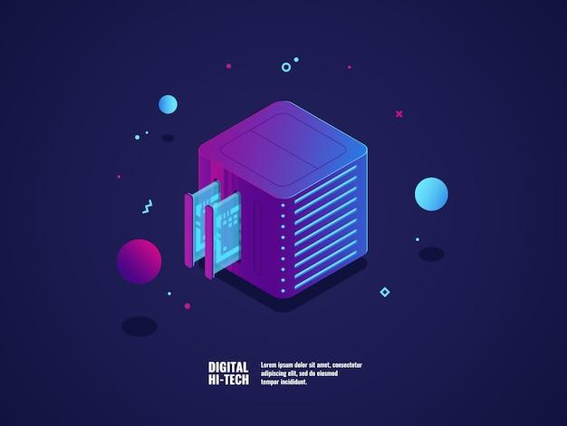 Hosting i ikona serwera wirtualnego, centrum danych i przechowywania danych w chmurze Darmowych Wektorów