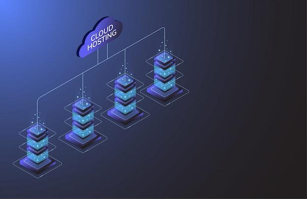 Hosting W Chmurze. Przemysł Sprzętu Internetowego. Technologia Transmisji Danych Premium Wektorów