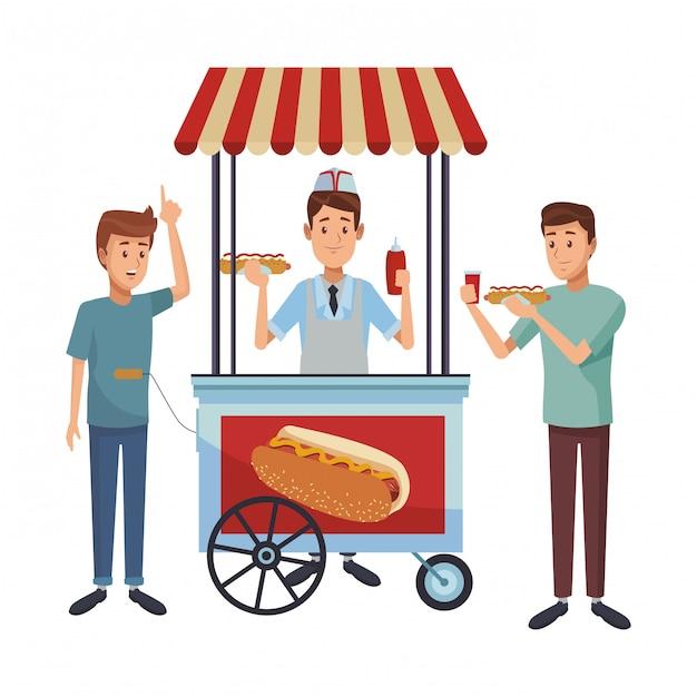 Hot Dog Booth Premium Wektorów