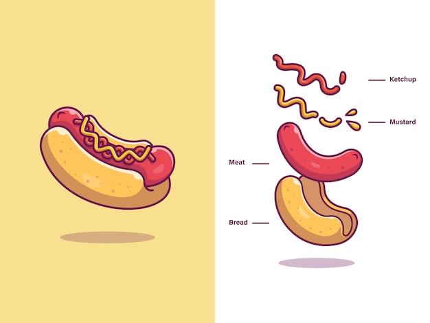 Hotdog Składniki Jedzenie Premium Wektorów