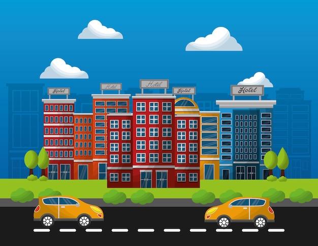 Hotelowi Budynki Taxi W Ulicznej Wektorowej Ilustraci Premium Wektorów
