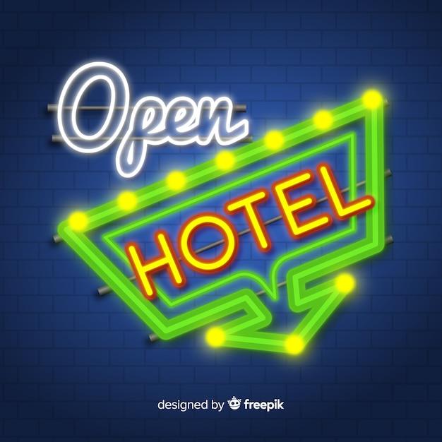 Hotelowy neonowy znaka tło Darmowych Wektorów
