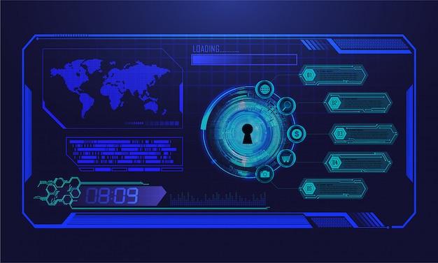 Hud światowego Błękitnego Cyber Obwodu Obwodu Technologii Pojęcia Przyszłościowy Tło Premium Wektorów