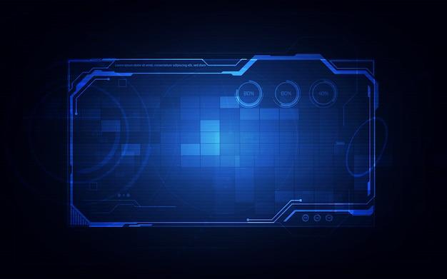 Hud, Ui, Gui Futurystyczny Interfejs Użytkownika Elementy Ekranu. Ekran High-tech Do Gier Wideo. Projekt Koncepcyjny Science-fiction. Premium Wektorów