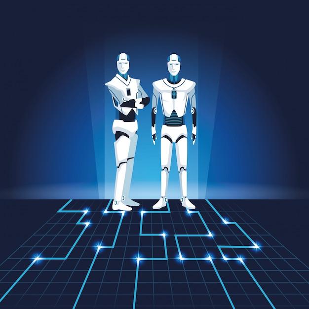 Humanoidalne Roboty Awatary Premium Wektorów