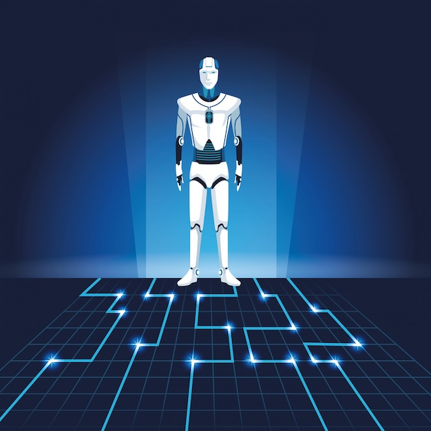 Humanoidalny Awatar Robota Premium Wektorów
