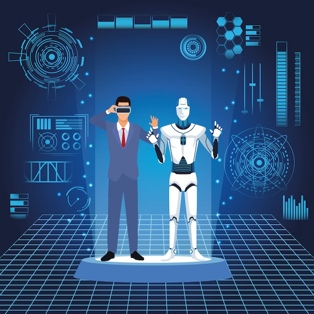 Humanoidalny Robot I Biznesmen Premium Wektorów