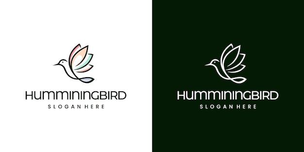 Humminingbird Monoline Logo Nowoczesne Premium Wektorów