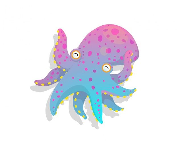Humor I Naiwny Obraz Dziecięcej Zabawy Ośmiornicy Podwodne Zwierzę Wektor Rysunek W Stylu Przypominającym Akwarele. Premium Wektorów