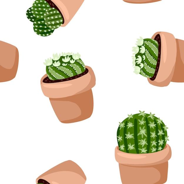 Hygge doniczkowe kaktusowe rośliny bezszwowy wzór. przytulna lagomowa skandynawska stylowa soczysta tekstury tła płytka Premium Wektorów