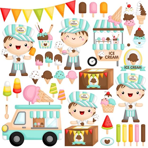 Ice cream boy Premium Wektorów