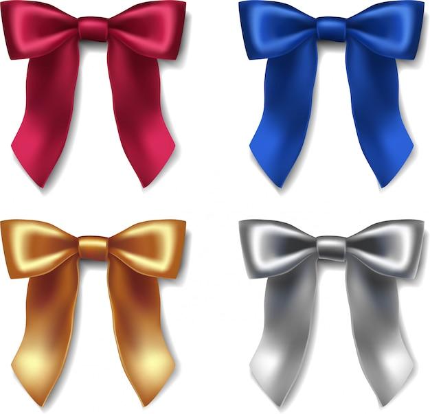 Icon ribbon ribbon czerwone, niebieskie, złote i srebrne kokardy z aksamitu na specjalne okazje do pakowania i dekoracji. Premium Wektorów