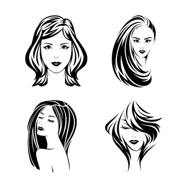 Iconic beautiful girl ilustracja design pack Premium Wektorów