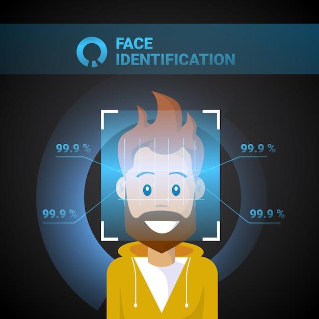 Identyfikacja twarzy skanowanie męskie nowoczesna technologia kontroli dostępu koncepcja systemu rozpoznawania biometrycznego Premium Wektorów