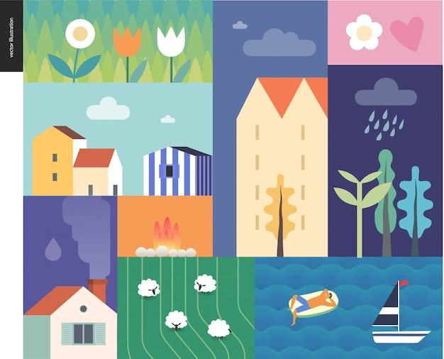 Idillic letni krajobraz - wieś, miasto, podróż, koncepcja obozu wakacyjnego - kolaż drzew, kwiatów, pola z owcami i falami jeziora lub morza z żaglówką i odpoczywającym człowiekiem na dmuchanym materacu Premium Wektorów