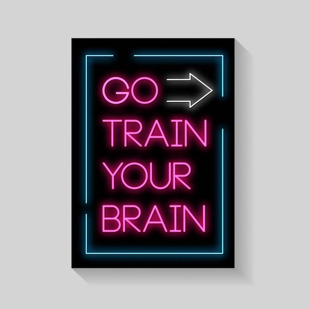 Idź ćwiczyć mózg plakatów w stylu neonowym. Premium Wektorów