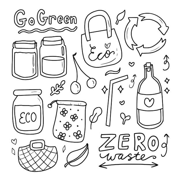 Idź Zielony Eko Ikona Rysunek Zbiory Kolekcji Premium Wektorów
