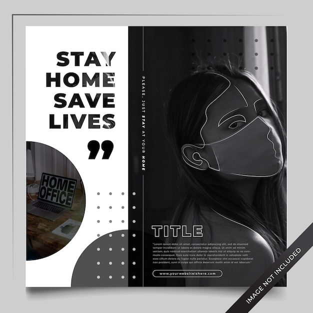 Ig Post Feed - Stay Home Save Lives Premium Wektorów