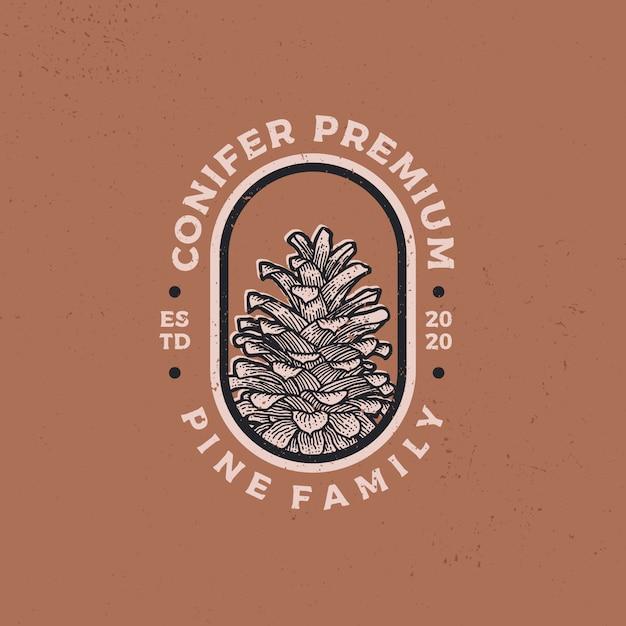 Iglaste Rocznika Logo Retro Ikona Ilustracja Premium Wektorów