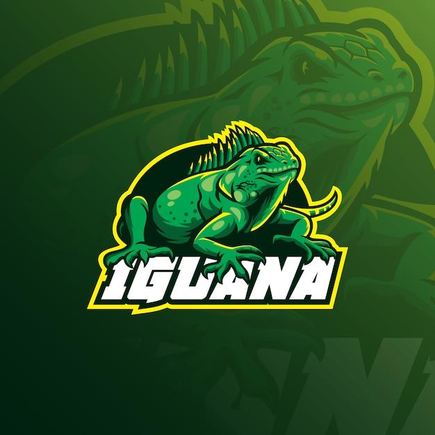 Iguana maskotka logo z nowoczesną ilustracją Premium Wektorów