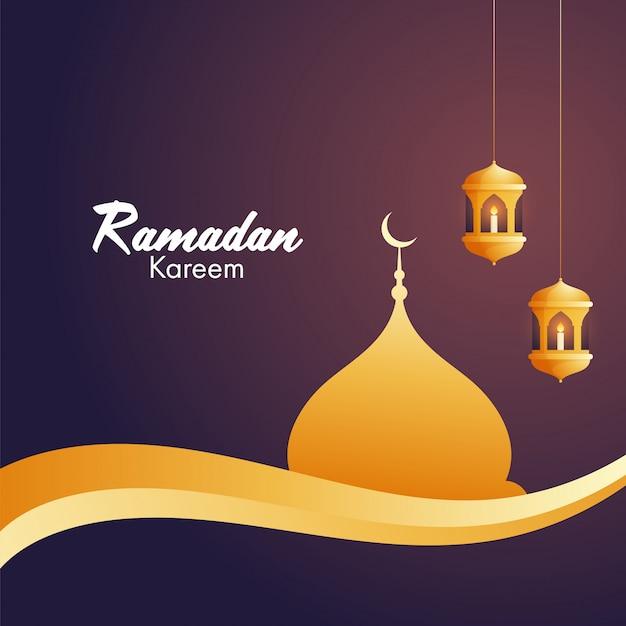 Iituje świece W Arabskich Złotych Lampionach I Złoty Meczet Dla Islamskiego świętego Miesiąca Modlitw, Okazji Ramadan Kareem. Premium Wektorów