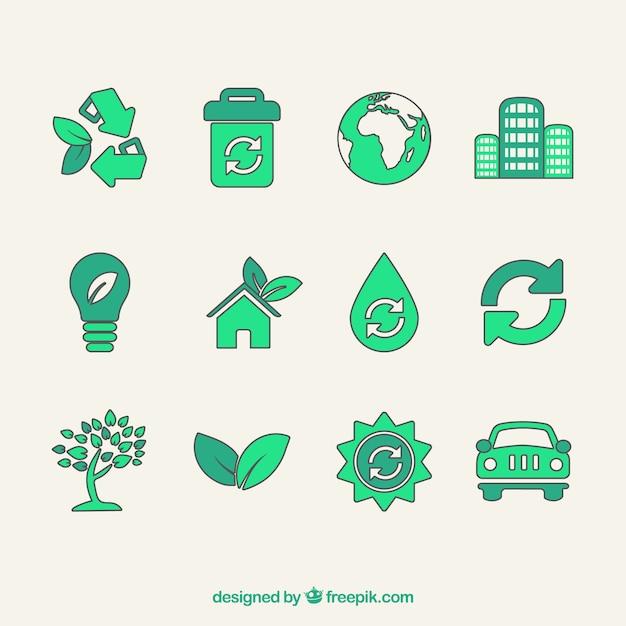 Ikon wektorowych symboli recyklingu Darmowych Wektorów
