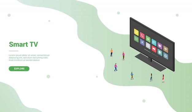 Ikona Aplikacji Smart Tv O Nowoczesnym Stylu Izometrycznym Dla Szablonu Strony Docelowej Strony Docelowej - Premium Wektorów