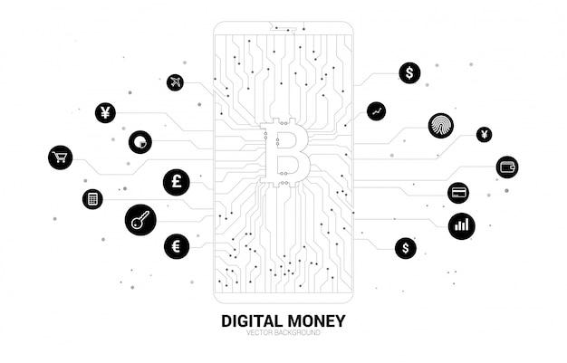 Ikona bitcoin pieniądze na ekranie telefonu komórkowego z kropki podłączyć styl linii obwodu drukowanego Premium Wektorów