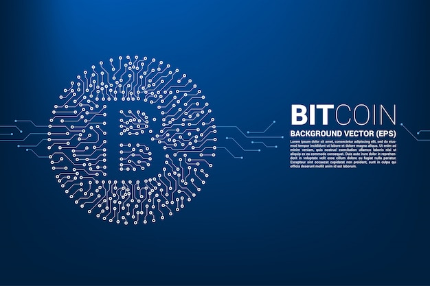 Ikona bitcoin z stylu płytki drukowanej Premium Wektorów