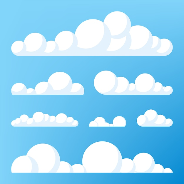 Ikona Chmury, Kształt Chmury. Zbiór Różnych Chmur. Kolekcja Ikony Chmurki, Kształt, Etykieta, Symbol. Graficzny Wektor Elementu. Element Projektu Do Logo, Sieci I Druku Premium Wektorów