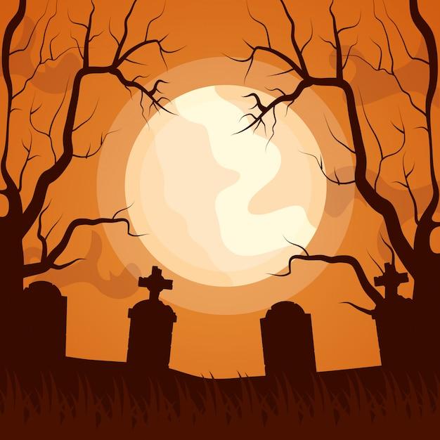 Ikona ciemny cmentarz halloween Darmowych Wektorów