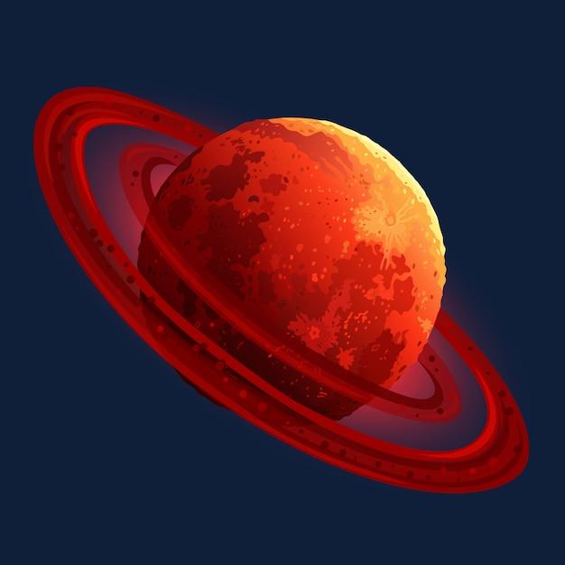 Ikona Czerwonej Planety Do Gry W Kosmos Premium Wektorów