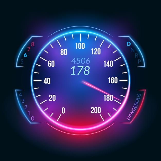 Ikona Deski Rozdzielczej Prędkościomierza Samochodu. Panel Pomiarowy Do Pomiaru Prędkości W Technologii Szybkiego Wyścigu. Premium Wektorów