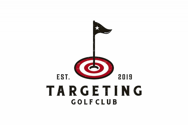 Ikona docelowa z logo golfa Premium Wektorów