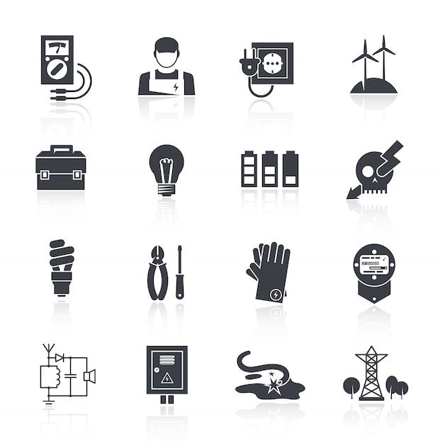 Ikona energii elektrycznej czarny Darmowych Wektorów